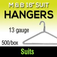 "M&B 16"" Suit Hangers/13  gauge (500)"